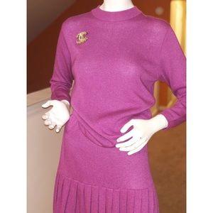 2 piece purple pleated skirt set